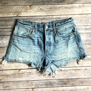 Levi's 30 Cutoff Cotton Jean Shorts Medium Wash